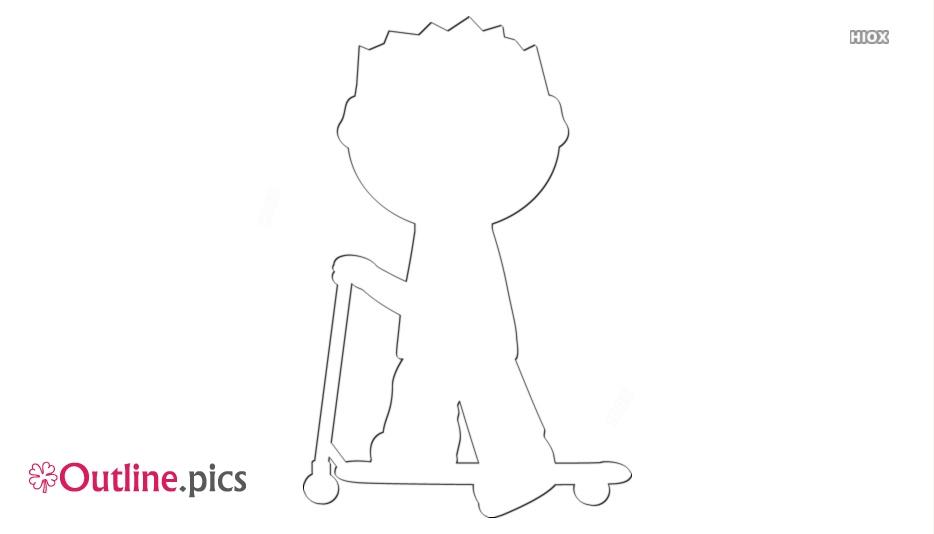 Boy Riding Scooter Outline Clip Art