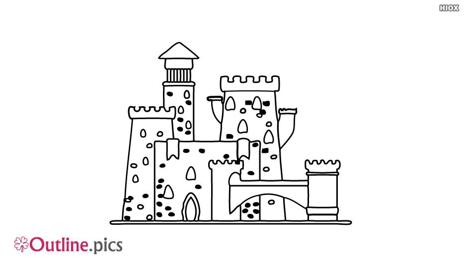Cartoon Castle Linear Outline Drawing