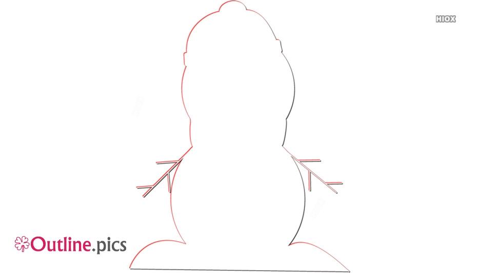 Cute Snowman Outline Image