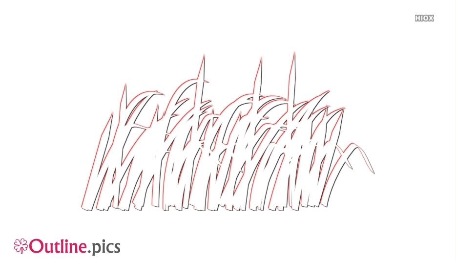 Green Grass Blade Outline Image