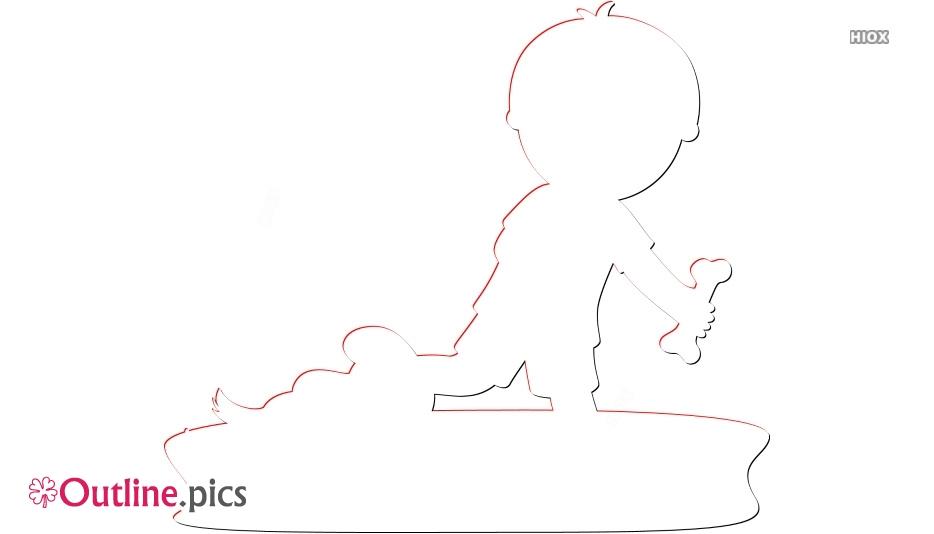 Happy Boy Running Outline Art