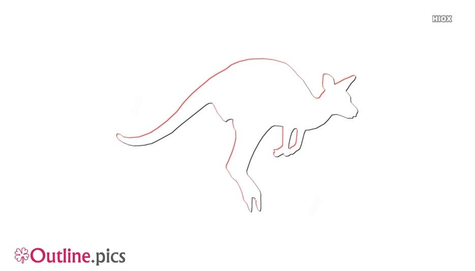 Kangaroo Jumping Outline Art