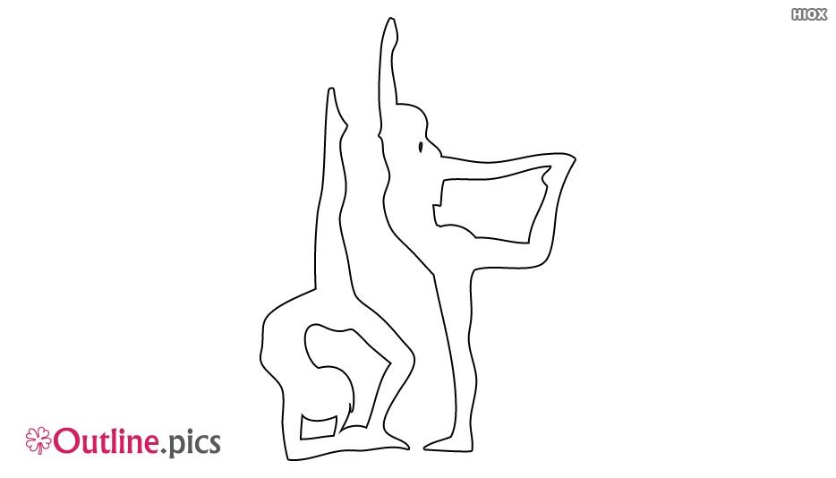 Man and Woman Doing Yoga Outline