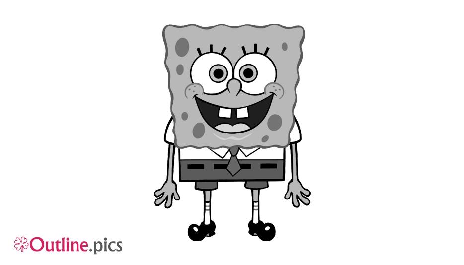 Spongebob Cartoon Character Outline Vector