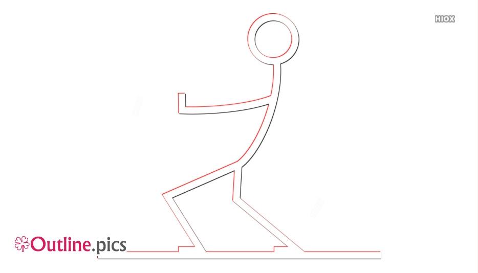 Stick Figure Pulling Outline Image
