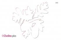 Acorn Oak Leaf On Outline Image