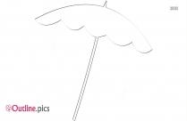 Umbrella In Rain Outline Clipart