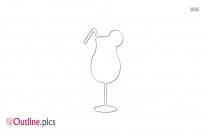 Black Cocktail Drink Glass Drawing Outline
