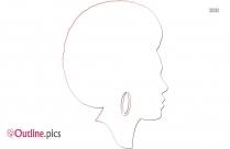 Black Female Afro Outline Vector