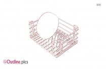 Black Kitchen Stainless Steel Basket Outline Image