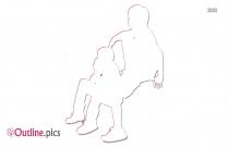 Couple Sitting Together Outline Design