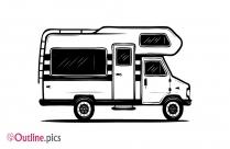 Camper Van Outline Drawing
