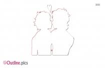Cartoon Bad Nose Kiss Outline