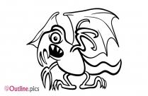 Cartoon Basilisk Outline Image