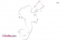 Cute Cartoon Mermaid Outline Pic