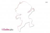 Cartoon Dora Running Outline