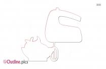 Cartoon Hand Mixer Outline Free Vector Art