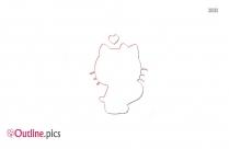 Cartoon Hello Kitty Outline