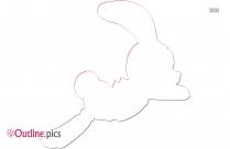 Cartoon Jumping Bunny Outline