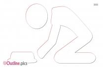 Cartoon Kneeling Outline Clipart
