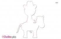 Horseback Riding Outline Clipart
