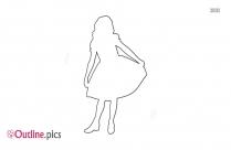 Cute Baby Girl Dancing Outline