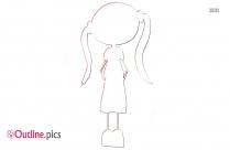 Cute Kid Clip Art Outline