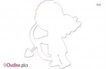 Cartoon Valentine Cupid Outline