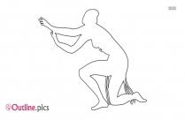 Woman Pole Dancing Outline