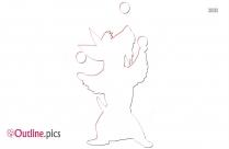Dog Juggling Outline Sketch