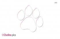 Dog Paw Print Outline Sketch