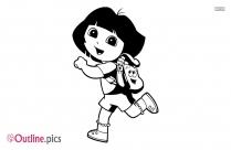 Cute Dora Outline Vector