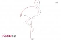 Flamingo Cartoon Outline Image