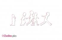 Relay Race Girl Cartoon Outline Image