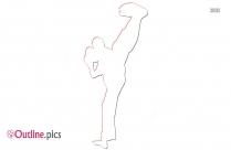 Double Karate Kick Outline Design