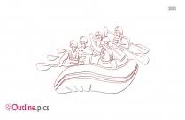 Free River Rafting Cartoon Outline