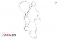 Girl Birthday Outline Image