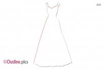 Girl In Fancy Dress Cartoon Outline