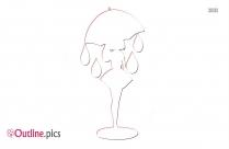 Girl With Umbrella Art Outline