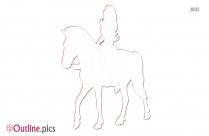 Girl Horseback Riding Outline Image