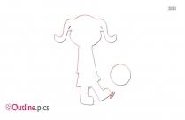 Girl Kicking Ball Outline