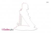 Girl On A Slide Outline Image