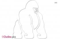 Gorilla Walking Outline Drawing