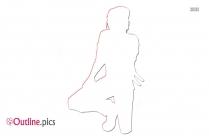 Half Kneeling Bow Pose Clipart || Kneeling Pose Outline Image