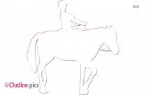 Horse Riding Outline Sketch