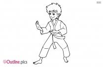 Karate Boy Outline Image
