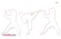 Karate Round Kick Outline Sketch