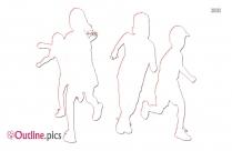 Kids Running Outline Image