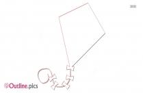 Kite Flying Outline Image