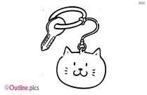 Cat Keyring Outline Vector